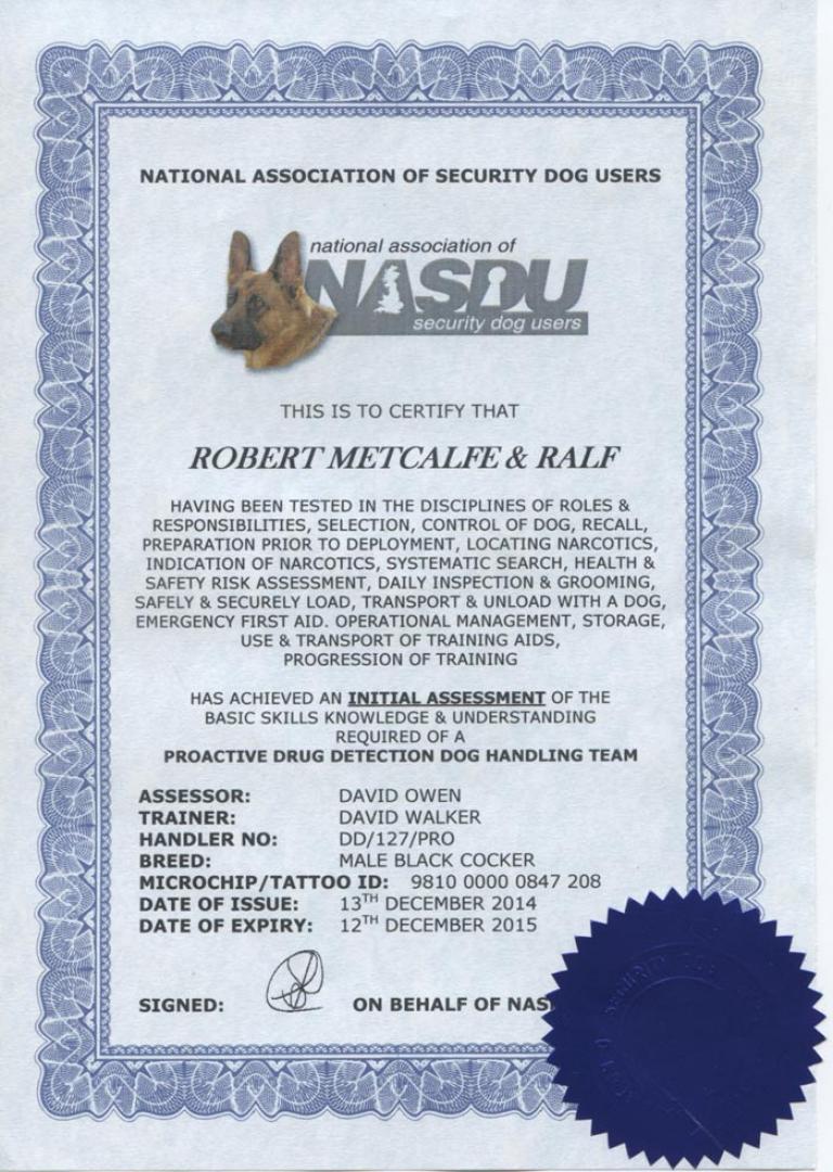 Nasdu Certificate